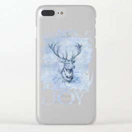 Joy to the world Christmas deer Clear iPhone Case
