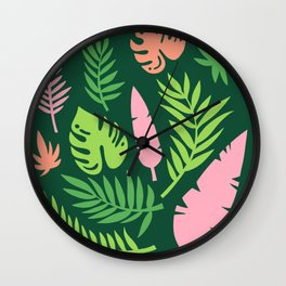 Green and Pink Tropical Leaves Wall Clock