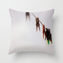 Clothespins on a rope 4496 Throw Pillow