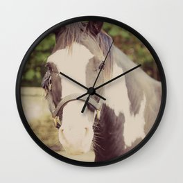 Horse Black and White Pinto Wall Clock