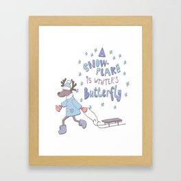 Winters butterflies funny christmas cartoons Framed Art Print