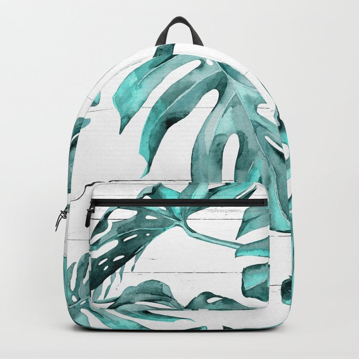 Turquoise Palm Leaves on White Wood Backpack