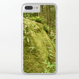 Washington Hiking Rainforest Boulder Rock Moss Ferns Wilderness Northwest Landscape Geology Clear iPhone Case