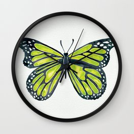 Lime Butterfly Wall Clock