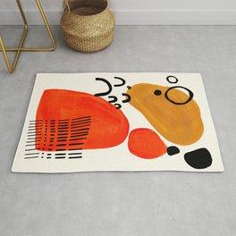 Fun Abstract Minimalist Mid Century Modern Yellow Ochre Orange Organic Shapes & Patterns Rug