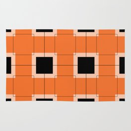 White Hairline Squares in Orange Rug