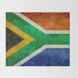 Flag of South Africa, Bright Vintage Textures Throw Blanket