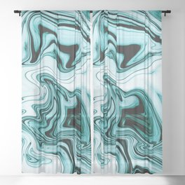 Blue Abstract Marble Pattern Blackout Curtain Sheer Curtain