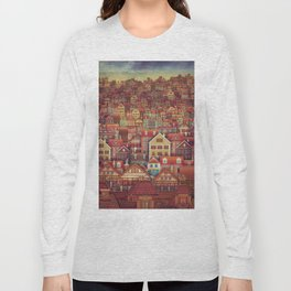 Cute City Street Scene ,Many Houses Long Sleeve T-shirt