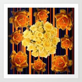 GOLDEN & YELLOW ROSES DARK STRIPES ART Art Print
