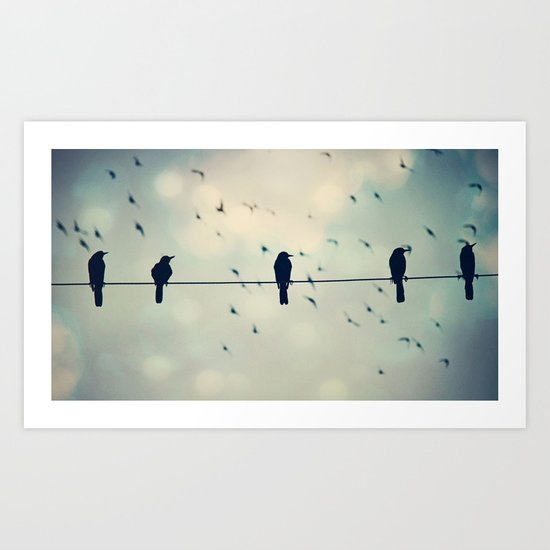 FRIENDS ON A WIRE Art Print