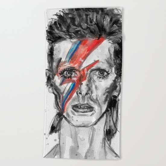Bowie Inspired David in BW Beach Towel