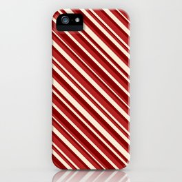 Maroon, Red & Beige Colored Pattern of Stripes iPhone Case