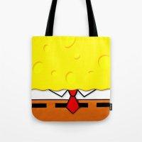 spongebob Tote Bags featuring Spongebob  by Andrian Kembara