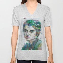 ROSALIND FRANKLIN watercolor portrait Unisex V-Neck