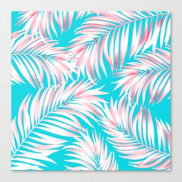 Palm Tree Fronds Hot Pink on Turquoise Hawaii Tropical Décor Canvas Print