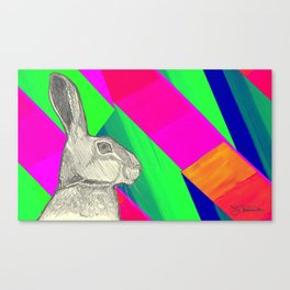 stand up straight   neon pink (rabbit & hare series) Canvas Print