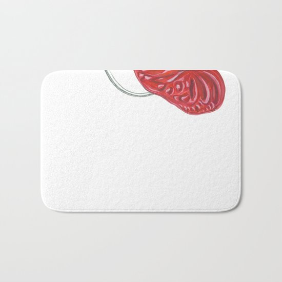 Anthurium 01 Botanical Flower * Red Heart Valentine Bath Mat