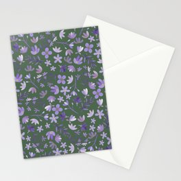 Purple Watercolor Flowers on Green Stationery Cards
