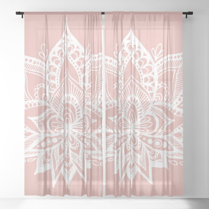 White Lotus Flower On Rose Gold Sheer Curtain