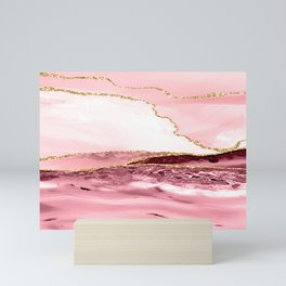 Pink And Gold Marble Waves Mini Art Print