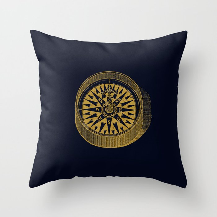 The golden compass I- maritime print with gold ornament Deko-Kissen