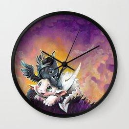 Sunset friends, Unicorn and Dragon Wall Clock