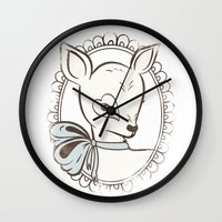 bambi Wall Clocks featuring BAMBI by TOO MANY GRAPHIX