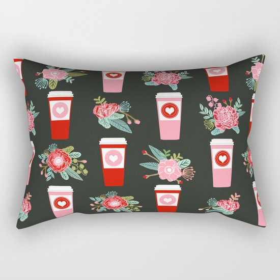 Coffee florals modern valentines day gifts for coffee lovers floral botanical bouquet Rectangular Pillow