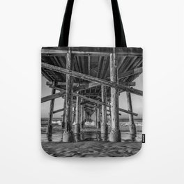 Morning under Newport Pier in Black and White Tote Bag