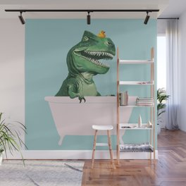 Playful T-Rex in Bathtub in Green Wall Mural