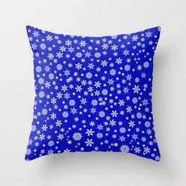 Snowflakes on Dark Blue Throw Pillow