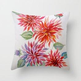 Brash, Blowsy and Beautiful Dahlias Throw Pillow