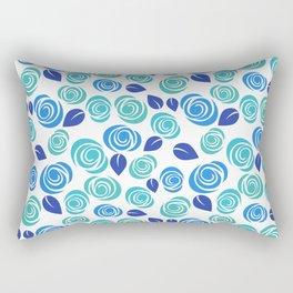 Pretty Aqua Blue and Teal Floral Pattern Rectangular Pillow
