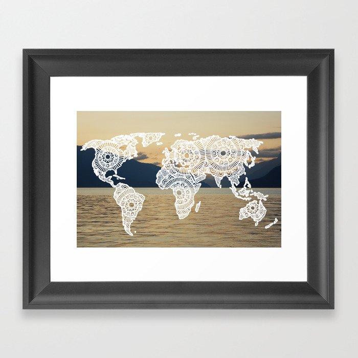 Lake View Map Framed Art Print