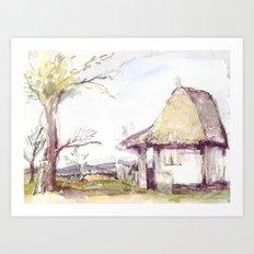 Romanian watercolor Art Print