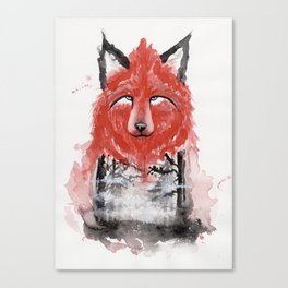 The Red Wolf Fog Canvas Print