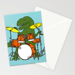 T-Rex Drummer Stationery Cards