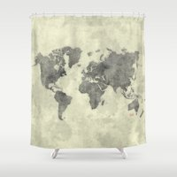 vintage map Shower Curtains featuring World Map Black Vintage by City Art Posters