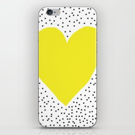 Yellow heart with grey dots around iPhone Skin