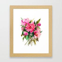 Peony Flowers, pink floral design Framed Art Print