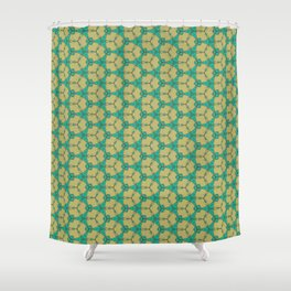Hex Pattern 65 - Taupe/Turquoise Shower Curtain