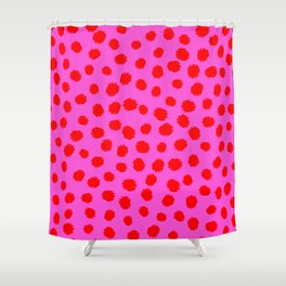 Keep me Wild Animal Print - Pink with Red Spots Shower Curtain
