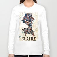 seattle Long Sleeve T-shirts featuring Seattle by Artful Schemes