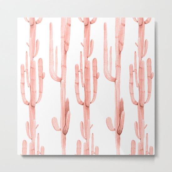Pretty Coral Pink Cactus Pattern Metal Print