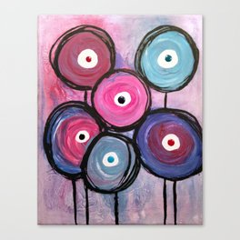 Abstract Circle Flowers Canvas Print