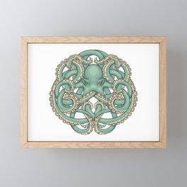 Octopus Emblem Green Framed Mini Art Print