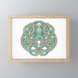 Octopus Emblem Green Framed Mini Art Print