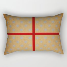 Present wrapped in gold paper and red ribbon Rectangular Pillow