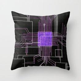Circuit board purple Throw Pillow